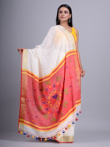 Off White handwoven Linen saree with sequin work 2