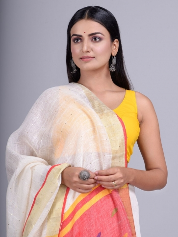 Off White handwoven Linen saree with sequin work 1