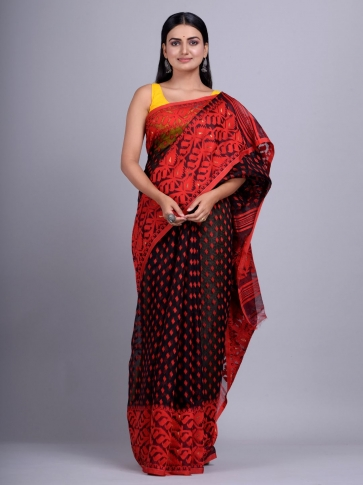 Black and Red Silk Cotton handwoven Jamdani saree