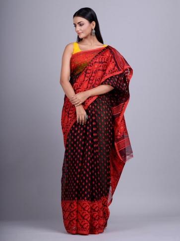 Black and Red Silk Cotton handwoven Jamdani saree 0