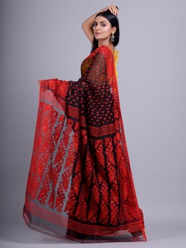 Black and Red Silk Cotton handwoven Jamdani saree 1