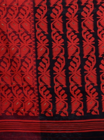 Black and Red Silk Cotton handwoven Jamdani saree 2