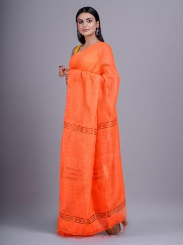 Orange Blended Cotton handwoevn saree with sequin work 1
