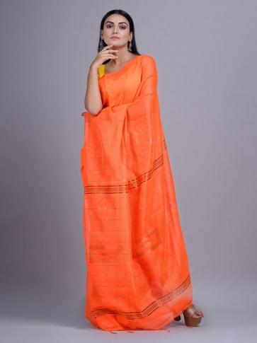 Orange Blended Cotton handwoevn saree with sequin work 0
