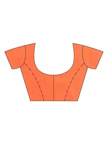 Orange Blended Cotton handwoevn saree with sequin work 2
