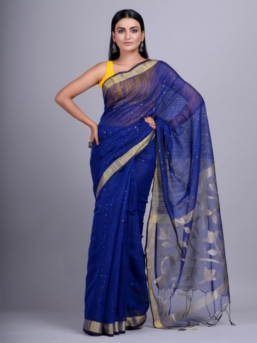 Blue Blended Cotton handwoevn saree with sequin work