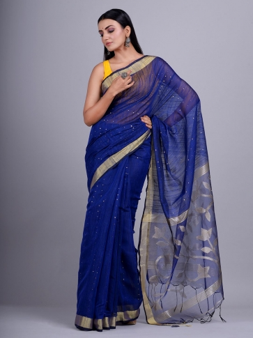 Blue Blended Cotton handwoevn saree with sequin work 1