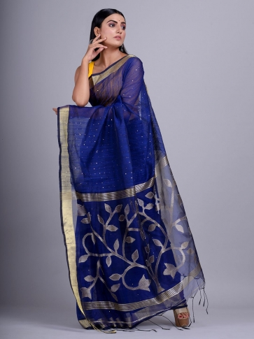 Blue Blended Cotton handwoevn saree with sequin work 0