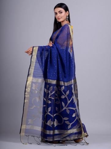 Blue Blended Cotton handwoevn saree with sequin work 2