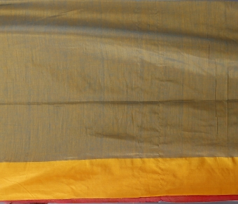 Blue With Yellow and Red Border Hand Woven Pure Cotton Saree Fabricated on Pure Cotton 2