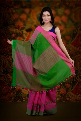 Pink And Green Color Bengal Hand Woven Saree With Plain Border 2