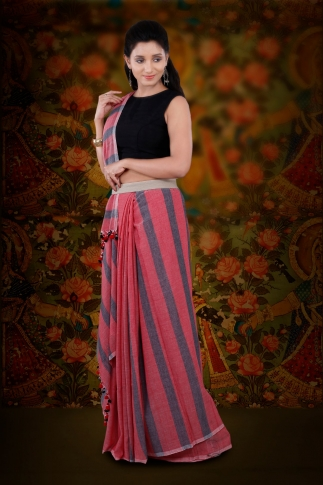 Red And Grey Hand Woven Pure Cotton Saree 1