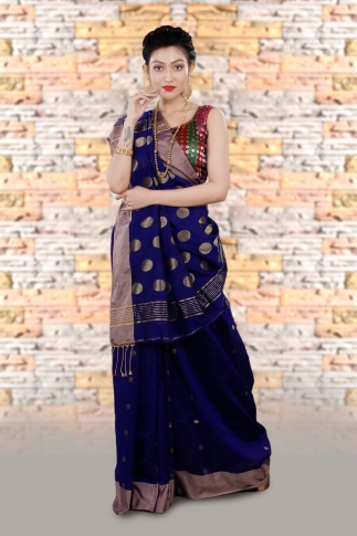 Blue Bengal Hand Woven Saree With Wide Border