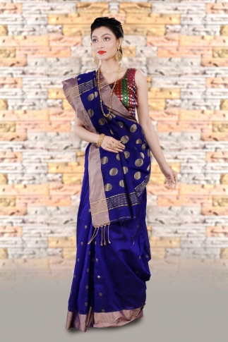 Blue Bengal Hand Woven Saree With Wide Border 1