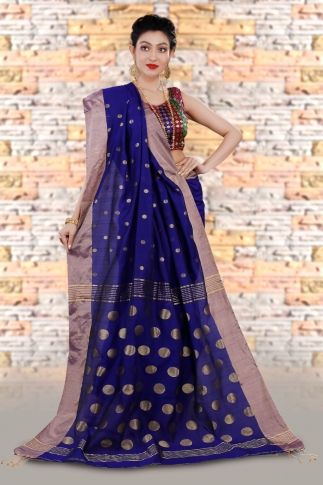 Blue Bengal Hand Woven Saree With Wide Border 2