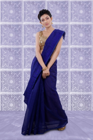 Blue Jamdani Saree And Woven Design