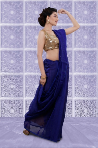 Blue Jamdani Saree And Woven Design 1