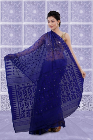 Blue Jamdani Saree And Woven Design 2