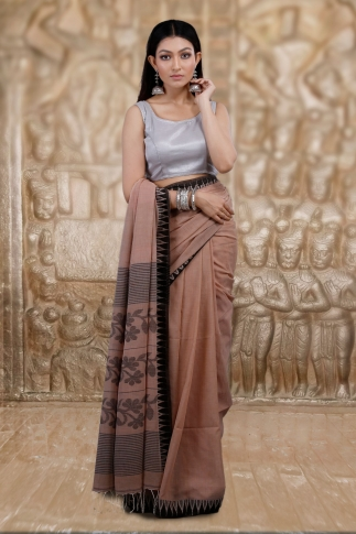 Beige Bengal Hand Woven Saree And Black Border