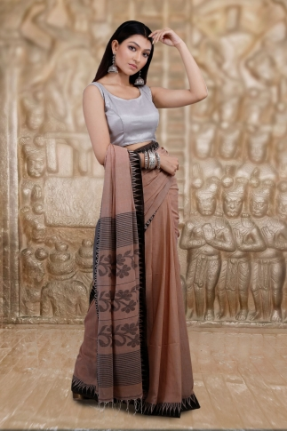 Beige Bengal Hand Woven Saree And Black Border 1