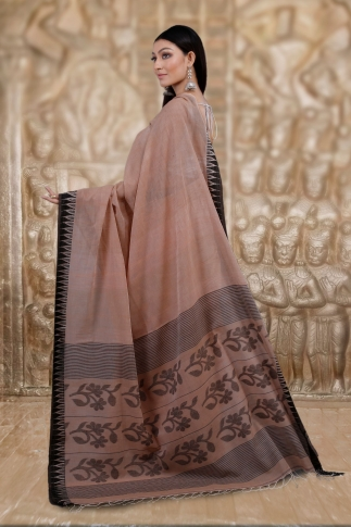Beige Bengal Hand Woven Saree And Black Border 2