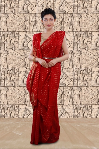 Red Jamdani Saree With Woven Design