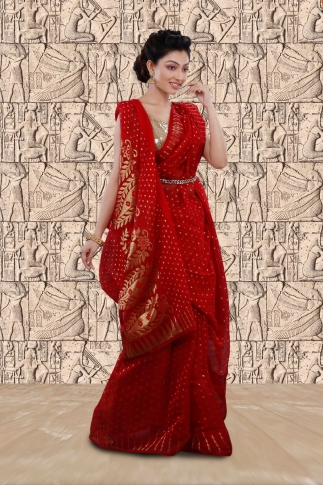 Red Jamdani Saree With Woven Design 1