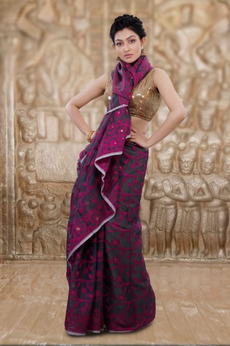 Grey Jamdani Saree And Woven Design