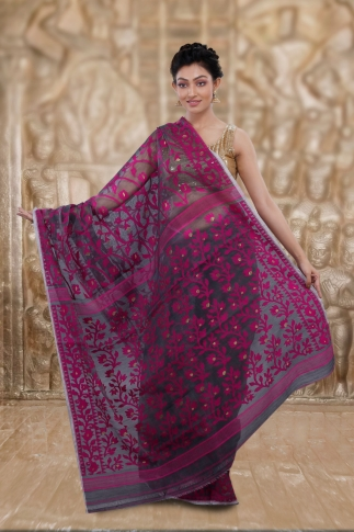 Grey Jamdani Saree And Woven Design 2