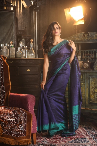 Blue Bengal Hand Woven Matka Silk Saree With Temple Border