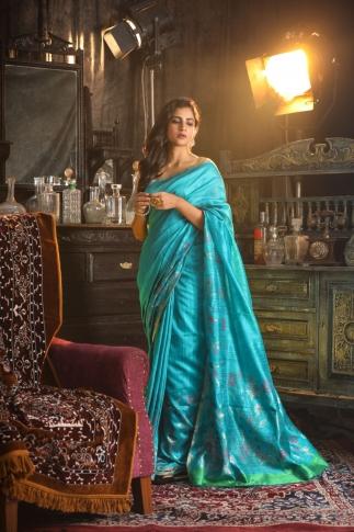 Blue Hand Woven Pure Matka Silk Saree