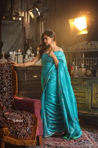 Blue Hand Woven Pure Matka Silk Saree 1