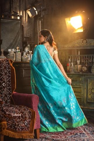 Blue Hand Woven Pure Matka Silk Saree 2