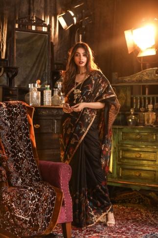 Black Pure Matka Silk Saree With Jamdani Work