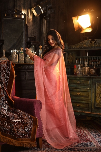 Peach Muslin Silk Saree With Zari Work Fabricated on Muslin Silk