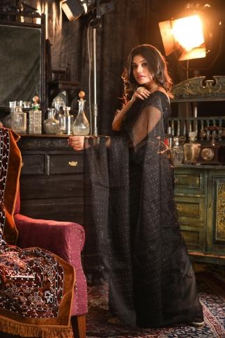 Black Muslin Silk Saree With Zari Work Fabricated on Muslin Silk 2