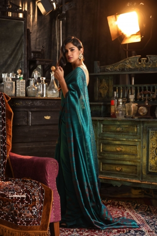 Teal Blue Matka Silk Saree With Zari Work Fabricated on Pure Matka Silk 1