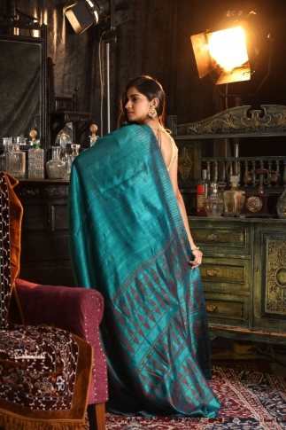 Teal Blue Matka Silk Saree With Zari Work Fabricated on Pure Matka Silk 2