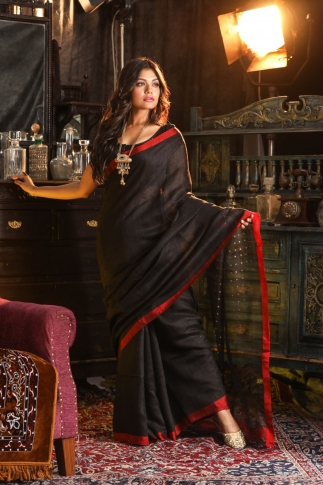Black Bengal Hand Woven Saree With Sequin