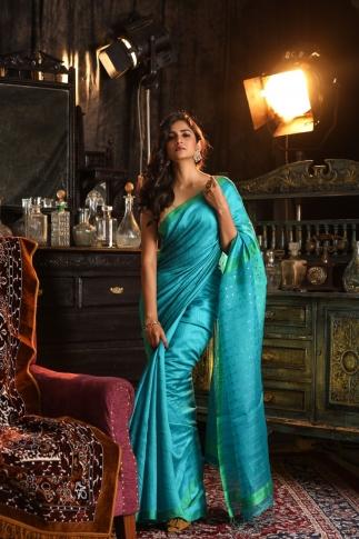 Blue Bengal Hand Woven Saree With Plan Border
