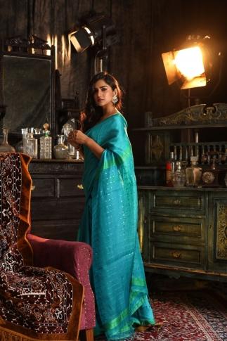 Blue Bengal Hand Woven Saree With Plan Border 1