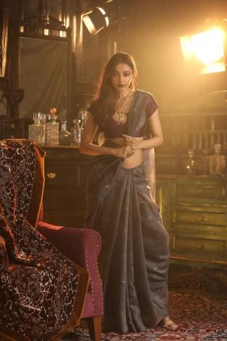 Dark Grey Matka Silk Saree With Zari Work Fabricated on Pure Matka Silk