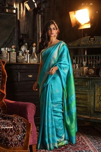 Blue Bengal Hand Woven Saree With Plain Green Border