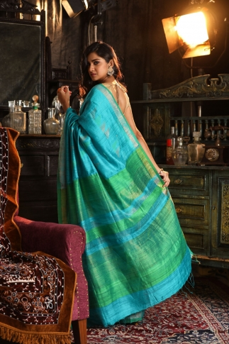 Blue Bengal Hand Woven Saree With Plain Green Border 2