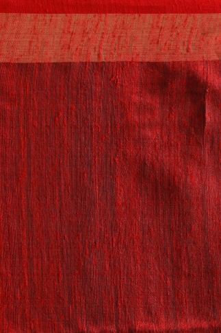 Grey Bengal Hand Woven Saree With Plain Red Border 0