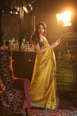 Bengal Handloom Pure Matka Silk Saree Olive Green Colour