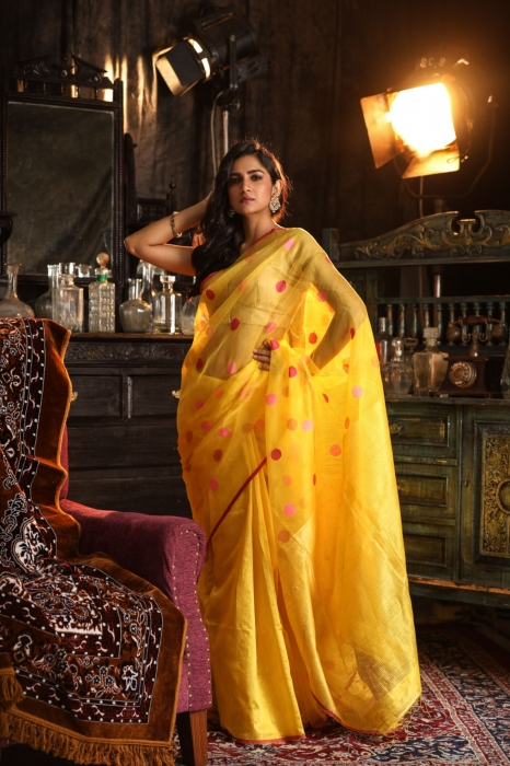 Bengal Hand Woven Yellow Pure Matka Silk Saree