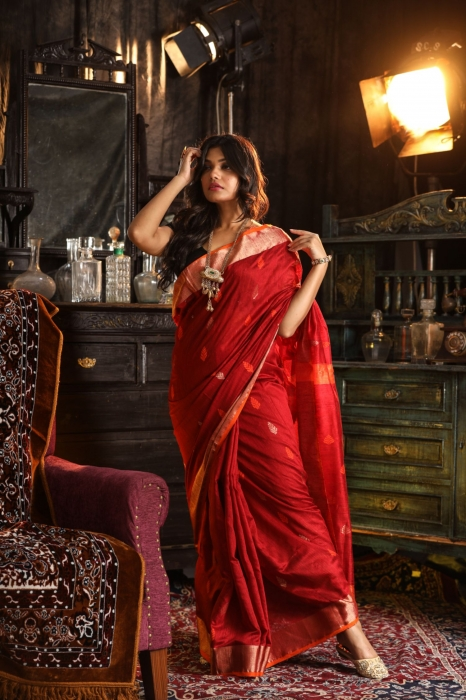 Bengal Hand Woven Red Hand woven Pure Matka Silk Saree