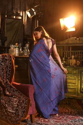 Blue Hand Woven Pure Tussar Cotton Saree Fabricated on Pure Tussar Cotton 2
