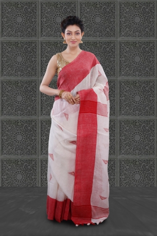 White Bengal Hand Woven Linen Saree With Plain Red Border